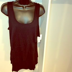 NWT LIZ CLAIBORNE black tiered tank size medium
